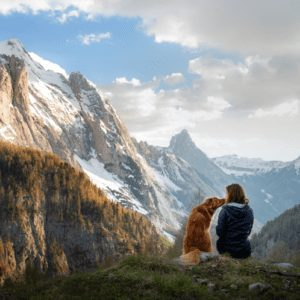 A woman and dog sitting in the snowy mountains