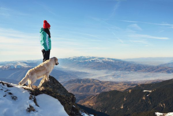 a dog and woman standing on a snowy mountain